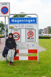 Standing in front of Wur, Ede Wageningen, The Netherland
